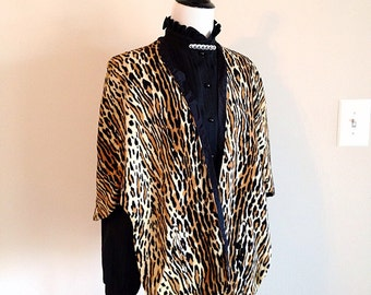 Vintage Mid Century Leopard Cape Wrap very Bell Book and Candle Pin Up Girl Rockabilly very Mad Men Joan