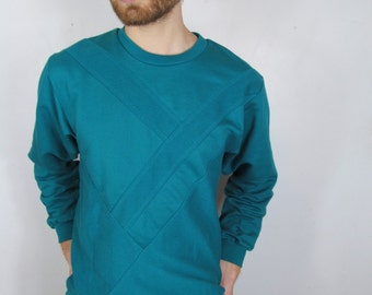90s Turquoise  Monochrome Cotton and Canvas New With Tags Vintage Dead Stock Sweater Top