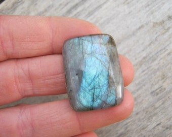 33 x 25mm Labradorite Cabochon, 25 ct Rectangle Blue Green Labradorite, Rectangular Spectrolite, Gemstone Cabochon,  LAB6