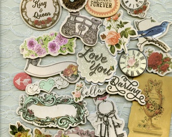 Victorian CHIPBOARD DIE CUTS - Prima Royal Menagerie - Victorian Die Cuts - Cottage Chic Die Cuts - Chipboard Embellishments