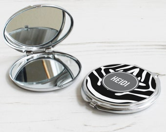 Zebra Print Mirror – personalised compact mirror – zebra pattern mirror – personalised mothers day gift – personalized pocket mirror - p15