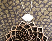 Geometric necklace, lasercut jewelery, statement necklace, ornate jewelery, sacred geometry, quartz crystal