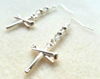 Nail Cross Earrings