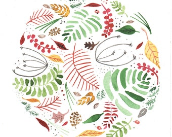 Autumn Circle-Watercolor Painting Print-Nature Art