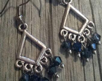 Blue Swarovski Crystal Earrings, Chandelier Earrings, Blue Chandelier Earrings, Dangle Earrings, Crystal Earrings, Silver Dangle Earrings