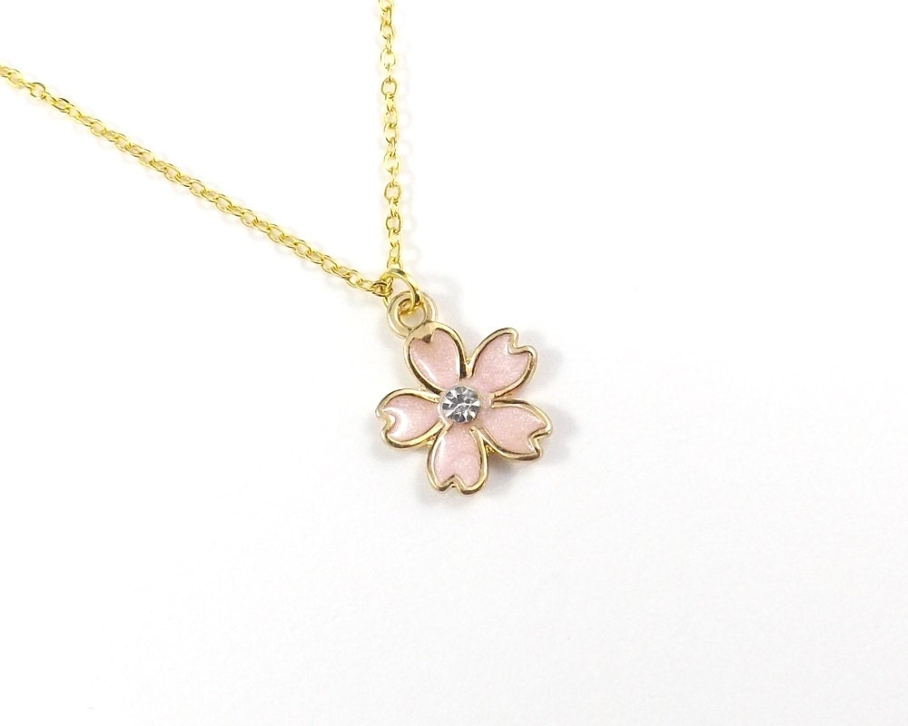 cherry blossom necklace 10k gold pink cherry blossom by