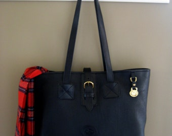 Vintage Black Dooney and Bourke All Weather Leather Tote - Black Handbag - Black Leather Shoulder Bag Purse - Authentic Dooney Shopper Tote