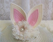 Shabby Chic Ivory Bunny Ears Headband, Halloween Costume, Costume Accessories, Costume Ears, Bunny Ears Outfit, Ready to Ship!