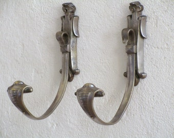 PAIR French Art Deco COBRA Bronze and Nickel Coat Hooks - Vintage French Coat Hooks - French Coat rack - Space Saving - Art for your wall