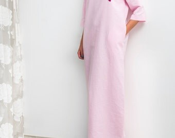 Pink Linen dress, Handmade embroidered pink linen dress, Maxi dress, Embroidered dress, Caftan, Abaya,Plus size dress,Plus size clothing