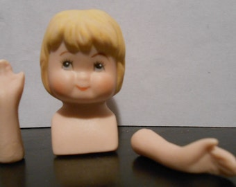 Small Blonde Female Child Head and Hands Porcelain Dollmaking Supply