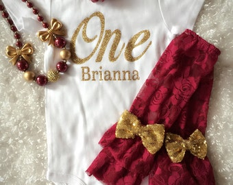 First Birthday/Maroon Gold Outfit/CakeSmash outfit/2nd Birthday/Take Home outfit/Maroon LegWarmer/Fall Baby/Fall Birthday/Burgundy Gold/