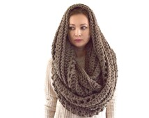 Oversized Chunky Blanket Infinity Scarf // The Prague // in Taupe