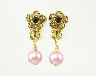 Pink Clip on Earrings, Pink Pearl Clip Earrings, Pink Pearl Dangle Clip on Earrings Gold Flower Clip Earrings |EB1-23