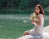 Short wedding dress  Silk wedding dress Beach wedding dress Boho wedding dress Unconventional bridal dress Modest wedding dress