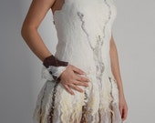 Alternative wedding dress White wedding dress Tribal wedding dress Fairy Pixie dress Bohemian dress Felt gown Modern tribal bridal dress