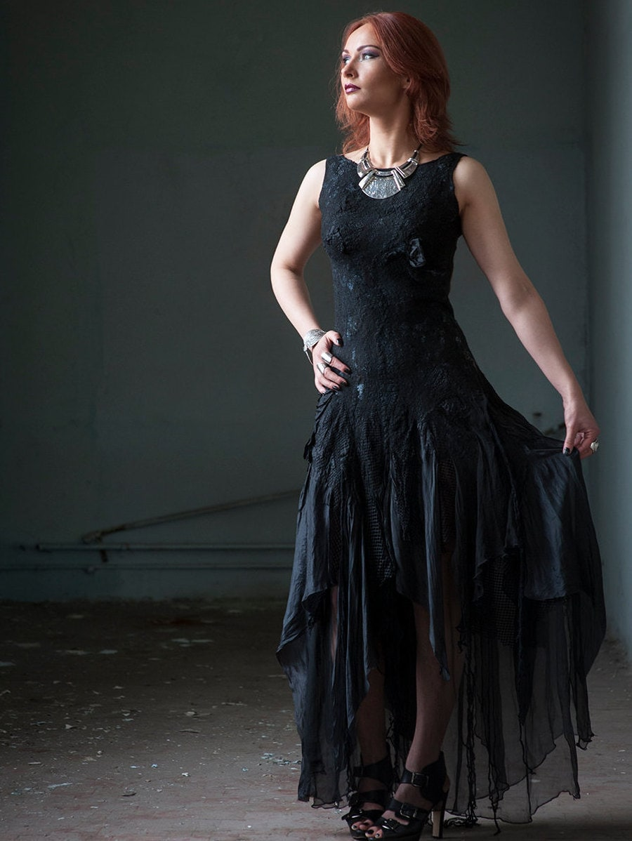 Black wedding dress alternative bridal dress gothic bridal for What to wear with a black dress to a wedding