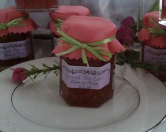 Wedding Favors // 50 Coral topped Mini Jam Favors -2 Oz Each