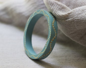 Bangle, painted wood bracelet, hand painted jewelry, teal bangle, gold bangle, teal and gold bangle, unique inexpensive gift for women. LUSH