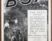 B.S.A., 1918, vintage, ad, original, bicycles, cycling, Birmingham Small Arms, English,advertisement, free shipping, paper, ephemera