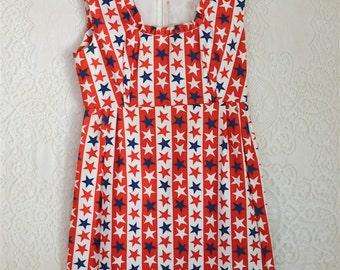 vintage 1970s stars and stripes handmade dress