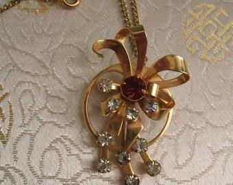 Vintage Pendant Brooch - Vintage Necklace Brooch - 1950s - Vintage Necklace - Vintage Pendant - Vintage Brooch - Mazer - Jomaz - Ruby - Red