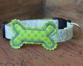 Bone Dog Collar - Lime Green/Grey Print with Lime Green Bone and Grey Stitching