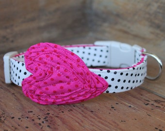 Valentine Dog Collar - Cream with Black Dot with Bright Pink Heart