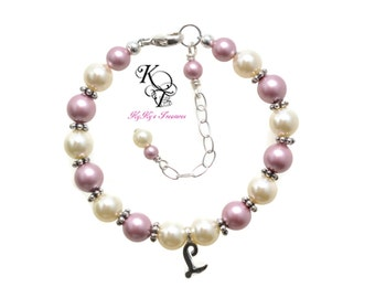 Personalized Baby Bracelet, Initial Bracelet, Little Girl Jewelry, Personalized Baby Gifts, Baby Shower Gift, Baby, Baptism, Girls Jewelry