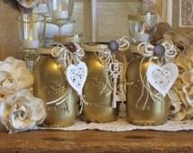 Gold & Ivory Wedding Centerpiece, Candle Holder Vase Set, Wedding Decoration, Gold Key to My Heart Decor, Wedding Gold Ivory Heart Decor