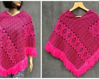 SALE>>>Vintage Hot Pink Woven Boho Southwestern Serape Poncho with Fringe