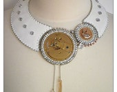 Copper satellite - RESERVED Steampunk glamour leather necklace with gold and copper clock mechanisms, bead embroidered
