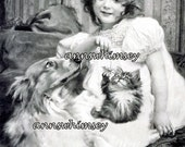 """Little Girl, Collie Dog, and Kitten Restored Antique Print """"Surrounded by Love"""" Great Print for Little Girl's Room or ANY Room #300"""