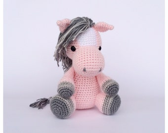 Crochet Horse Stuffed Animal in Pink and Grey