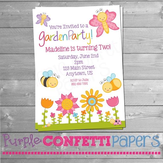 garden party invitation butterfly invitation bee invitation. Black Bedroom Furniture Sets. Home Design Ideas