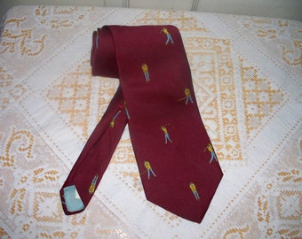 1970s Resilio Men's Tie - Golfer Pattern - Wide Width - 75% Polyester 25 Percent Silk