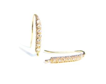 SALE CZ Gold Vermeil Ear Wires 1 pair Diamond Cut Line Vermeil Earwires Cubic Zirconia