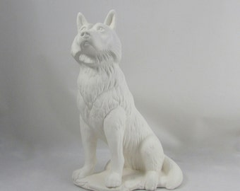 Ready to Paint Ceramic Wolf - 11 inches - decor
