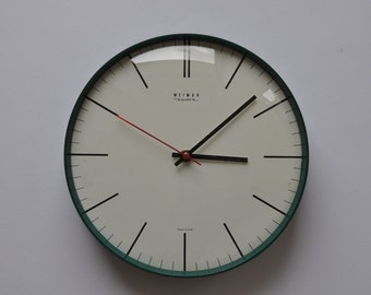 """Vintage German Wall Clock from Weimar. Teal. 10.5"""" diameter. Kitchen Clock.  Made in former GDR (East Germany). 1112"""