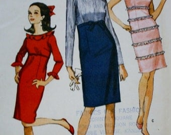 McCalls 7974 High Waisted Dress Sewing Pattern 1960s