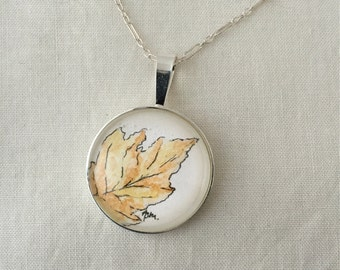 Yellow Leaf  - Wearable Artwork Necklace - Original Watercolor Painting - One of a Kind - Sterling Silver