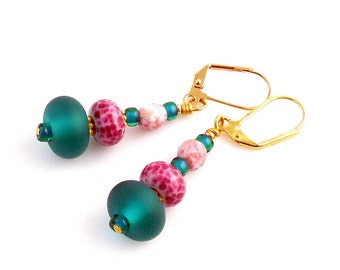 Teal and Pink Lampwork Art Glass Earrings, Lampwork Earrings, Lampwork Jewelry, Glass Bead Earrings, Fashion Jewelry, Gifts, Mother's Day