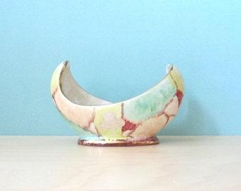 Vintage fifties Bay Keramik small asymmetric ceramic bowl marbled pattern gold rimmed