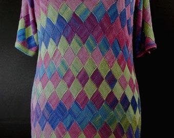 Women entrelac tunic - knit tunic - knit top - knit pullover - plus size knitwear - multicolor top - women knitwear - gift for women