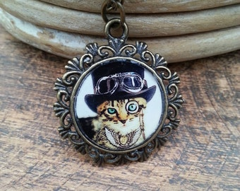 Steampunk Cat Resin Necklace. Vintage frame Resin Cat pendant.