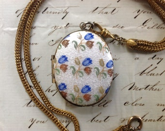 "INVENTORY SALE Vintage Large Gold Guilloche Floral Tulip Locket with Gold Filled Watch Chain - 22"" Etsy andersonhs"