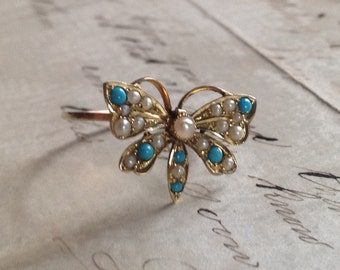 RARE Victorian Solid 15K Yellow Gold Butterfly Genuine Turquoise and Seed Pearl Ring - 6 1/2 - Etsy andersonhs
