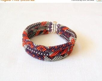 15% SALE 3 Strand Bead Crochet Rope Bracelet in red, purple and grey - beaded jewelry - seed beads bracelet