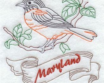 Maryland State Bird Baltimore Oriole Embroidered Decorative Absorbent White Cotton Flour Sack Towel, Linen Towel, Waffle Towel, Hand Towel