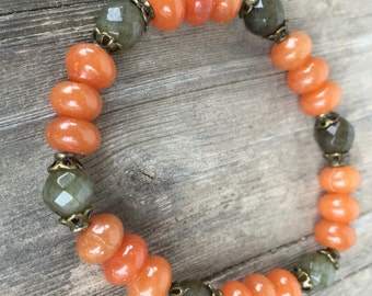 Red Aventurine & Labradorite Bracelet, Gemstone Stretch Bracelet, 8mm Rondelle Stone Bracelet, Stackable Bracelet, Bohemian Jewelry
